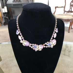 Vintage Lavender Rhinestone and Gold Necklace